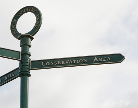 Signpost at Minet Country Park